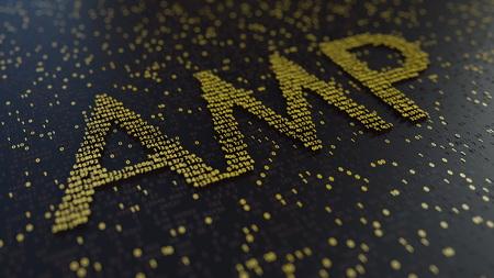 AMP word made of golden numbers. 3D rendering Stok Fotoğraf