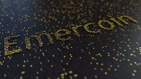 Emercoin word made of golden numbers. 3D rendering