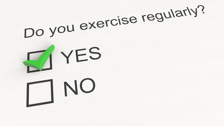Survey question and answer: Do you exercise regularly - Yes. Conceptual 3D rendering