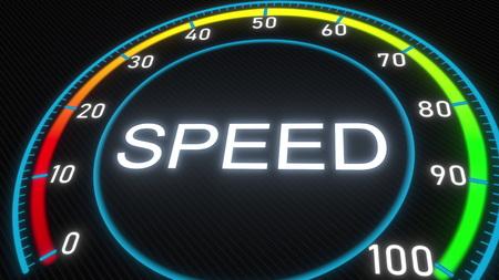 Speed futuristic meter or indicator. Conceptual 3D rendering