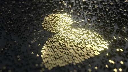 Users icon made of gold numbers. Conceptual 3D rendering