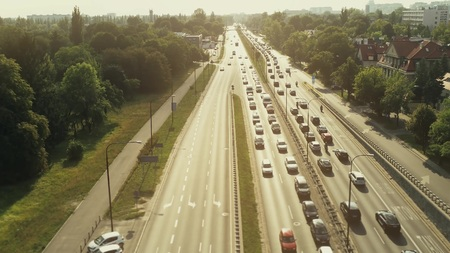 Aerial view of big traffic jam on a sunny day