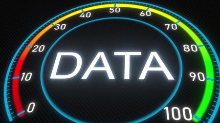 Data futuristic meter or indicator. Conceptual 3D rendering 스톡 콘텐츠