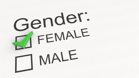 Survey checkbox gender selection - female. 3D rendering