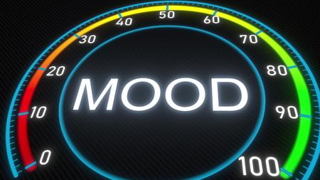 Mood futuristic meter or indicator. Conceptual 3D rendering