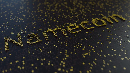 Namecoin word made of golden numbers. 3d rendering 写真素材