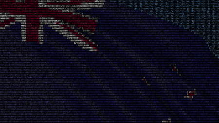 Waving flag of New Zeland made of text symbols on a computer screen. Conceptual 3D rendering Archivio Fotografico - 106364985