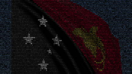 Waving flag of Papua New Guinea made of text symbols on a computer screen. Conceptual 3D rendering