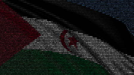 Waving flag of Sahrawi Arab Democratic Republic made of text symbols on a computer screen. Conceptual 3D rendering Фото со стока
