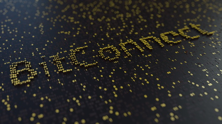 BitConnect word made of golden numbers. 3D rendering Stock Photo