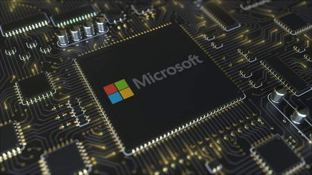 Computer printed circuit board or PCB with Microsoft Corporation logo. Conceptual editorial 3D rendering
