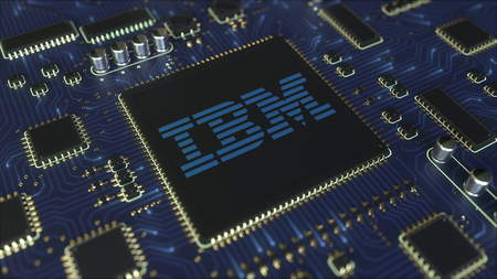 Computer printed circuit board or PCB with IBM logo. Conceptual editorial 3D rendering