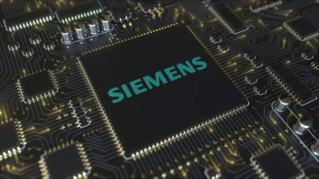 Computer printed circuit board or PCB with Siemens AG logo. Conceptual editorial 3D rendering