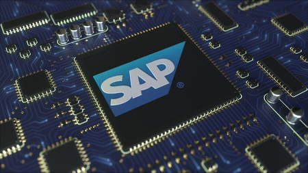 Computer printed circuit board or PCB with SAP SE logo. Conceptual editorial 3D rendering Editorial