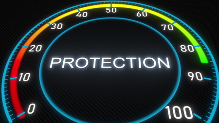 Protection futuristic meter or indicator. 3D rendering