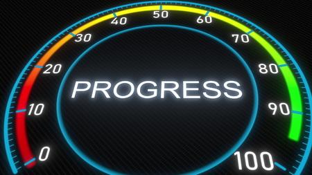 Progress futuristic indicator. Conceptual 3D rendering