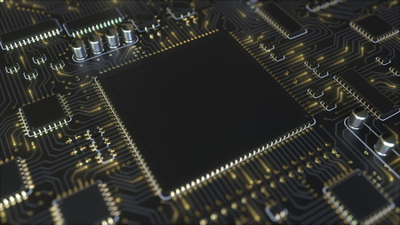 Black chip on a circuit board conceptual 3D rendering