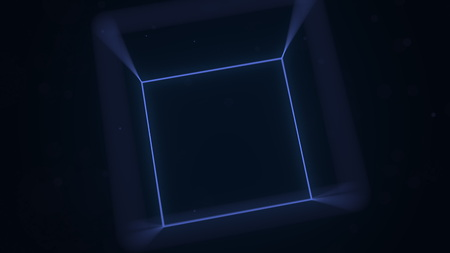 Blue luminescent cube. Computer graphics related 3D rendering Stock Photo