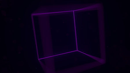Purple luminescent cube. Computer graphics related 3D rendering