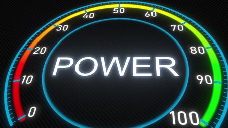 Power futuristic meter or indicator. Conceptual 3D rendering