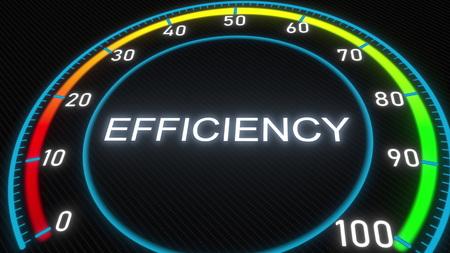 Efficiency futuristic meter or indicator. Conceptual 3D rendering 스톡 콘텐츠