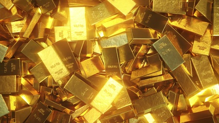 Shiny gold bullions. 3D rendering Stock Photo