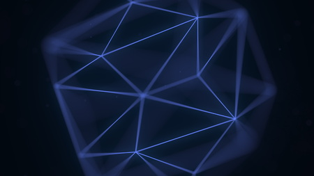Abstract blue polygonal solid. 3D rendering