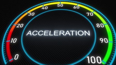 Acceleration futuristic meter or indicator. Conceptual 3D rendering