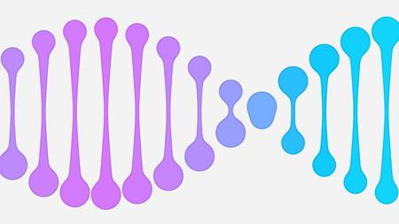 Animated purple and blue DNA icon. Conceptual minimalistic illustration Stock Photo