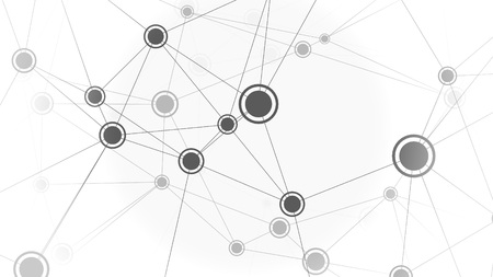 Black and white elements of network, onceptual illustration Stock Photo