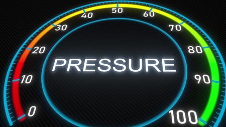 Pressure futuristic meter or indicator. Conceptual 3D rendering