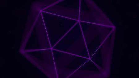 Purple icosahedron, Platonic solid. 3D rendering