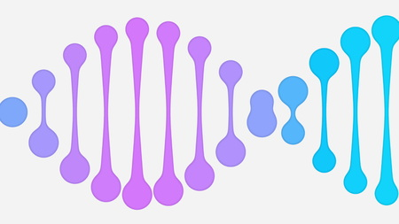 Purple and blue simplified DNA icon. Minimalistic illustration Stock Photo