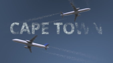 Flying airplanes trails and Cape Town caption. Traveling to South Africa conceptual 3D rendering