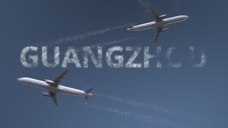 Flying airplanes trails and Guangzhou caption. Traveling to China conceptual 3D rendering