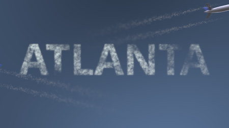 Flying airplanes trails and Atlanta caption. Traveling to the United States conceptual 3D rendering