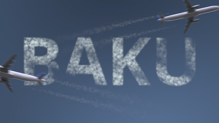 Flying airplanes trails and Baku caption. Traveling to Azerbaijan conceptual 3D rendering Фото со стока