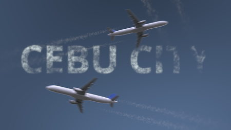 Flying airplanes trails and Cebu City caption. Traveling to Philippines conceptual 3D rendering