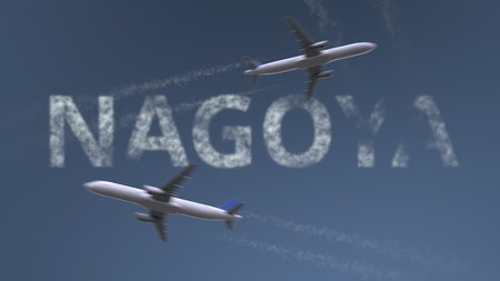 Flying airplanes trails and Nagoya caption. Traveling to Japan conceptual 3D rendering