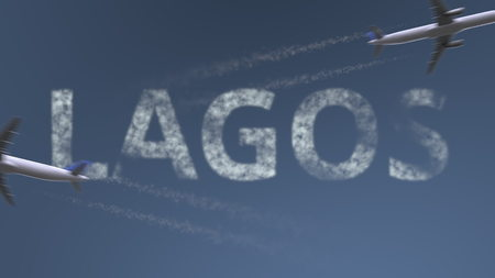 Flying airplanes trails and Lagos caption. Traveling to Nigeria conceptual 3D rendering