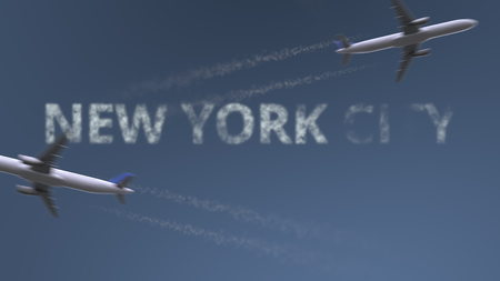 Flying airplanes trails and New York City caption. Traveling to the United States conceptual 3D rendering