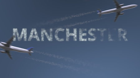 Flying airplanes trails and Manchester caption. Traveling to the United Kingdom conceptual 3D rendering Stock Photo