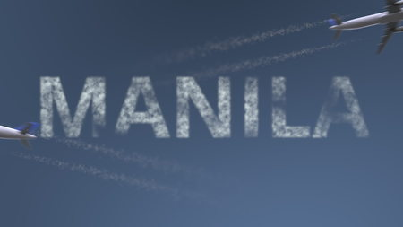Flying airplanes trails and Manila caption. Traveling to Philippines conceptual 3D rendering