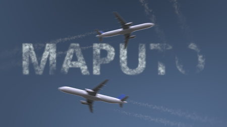 Flying airplanes trails and Maputo caption. Traveling to Mozambique conceptual 3D rendering
