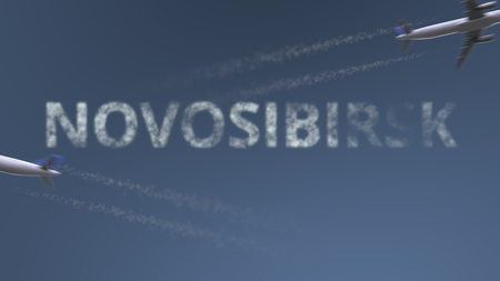 Flying airplanes trails and Novosibirsk caption. Traveling to Russia conceptual 3D rendering