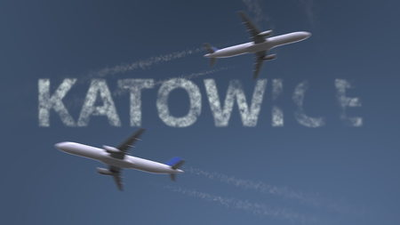 Flying airplanes trails and Katowice caption. Traveling to Poland conceptual 3D rendering