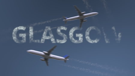 Flying airplanes trails and Glasgow caption. Traveling to the United Kingdom conceptual 3D rendering