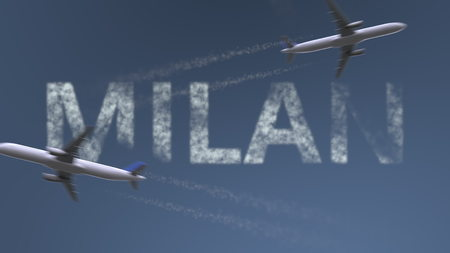 Flying airplanes trails and Milan caption. Traveling to Italy conceptual 3D rendering