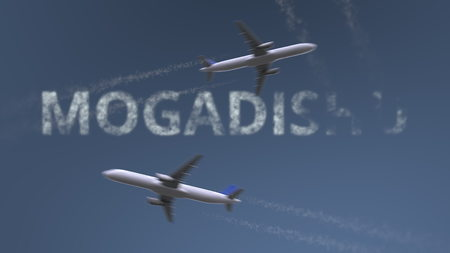 Flying airplanes trails and Mogadishu caption. Traveling to Somalia conceptual 3D rendering