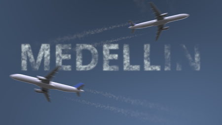 Flying airplanes trails and Medellin caption. Traveling to Colombia conceptual 3D rendering